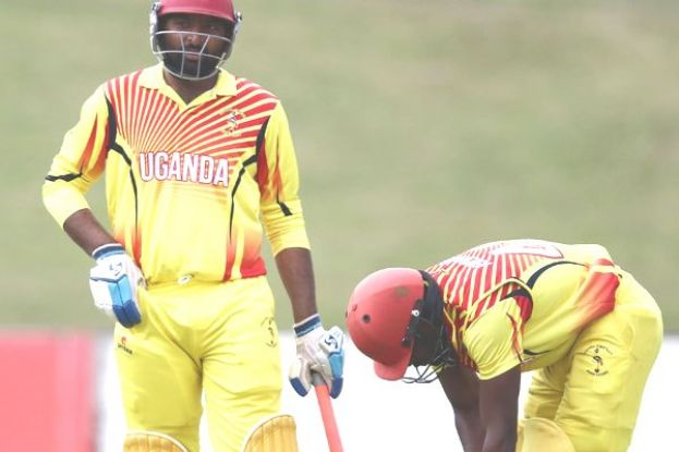 Tandem Partnership. Uganda's top order batsmen Dinesh Nakrani (L) and Hamu Kayondo (R) are slowly learning the art of grafting and can show their worth again today. PHOTO BY INNOCENT NDAWULA
