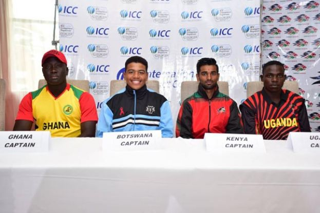 Next generation. U-19s captains at the official tournament press conference; From left: Rexford Bakum of Ghana, Botswana's Tharindu Perera, Sachin Bhudia of Kenya and Kenneth Waiswa of Uganda. PHOTO BY INNOCENT NDAWULA